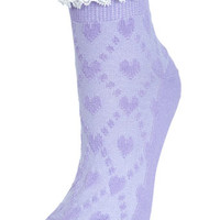 Lavender Sock with Lace Trim - New In