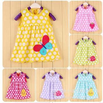 HOT 2017 Retail Baby Girls Dress Infant 100% Cotton Clothing Sleeveless Printed Dress Summer Clothes DR8569