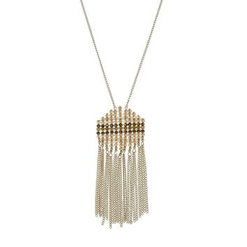 Abstract Beaded Fringe Necklace