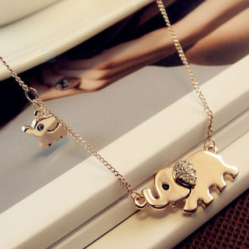 Elephant Pendant Necklace with Sparkling Crystals + Gift Box