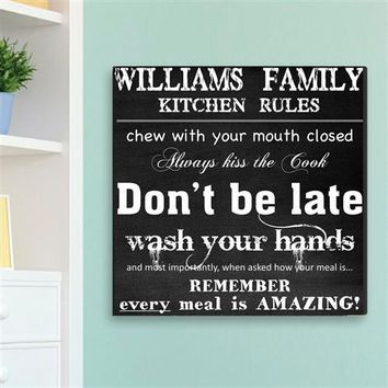 Free Engraving Family Kitchen Rules Canvas Sign