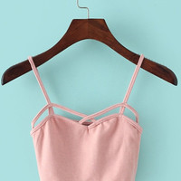 Pink Cropped Bra Top