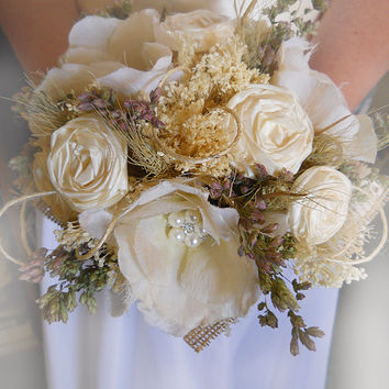 Dried Flower Bridal Bouquet with matching boutonniere. Handmade ivory silk roses and lightly tea stained open frayed roses, burlap, wheat