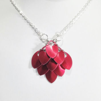 Chainmail Pendant Necklace Red Pendant Red Necklace Chainmail Necklace Chainmail Jewelry Gift For Her Chain Necklace Dragon Scale Fantasy