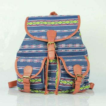 Aztec Ethnic Print Cute Large Backpacks for School Bag Canvas Daypack Travel Bag