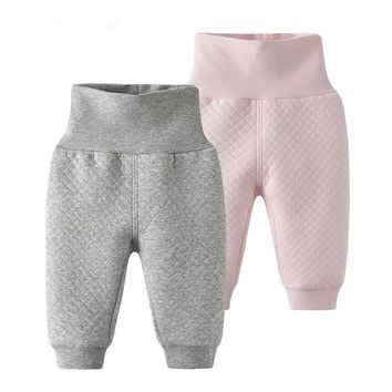 New 2018 Baby Pants Baby Boy Cotton Harem Pants Girls Plaid Warm High Waist Pants Kids Trousers Boys Girls Clothes