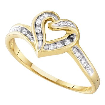 10kt Two-tone Gold Womens Round Diamond Heart Frame Ring 1/12 Cttw