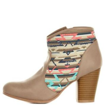 Qupid Aztec Canvas Chunky Heel Booties by Charlotte Russe