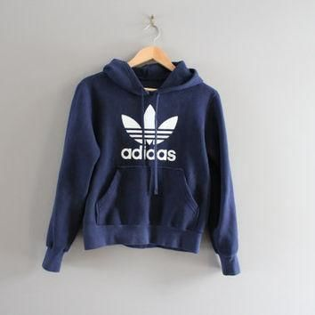 Made in Canada Adidas Sweatshirt Dark Blue Fleece Lining Cotton Adidas Trefoil Hoodie