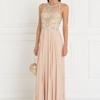 Sheer illusion champagne prom dress  GLS 1564