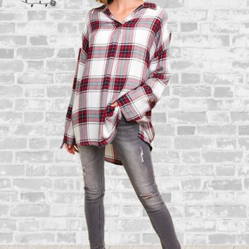 Plaid Pullover Tunic Top - Red