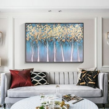 Gold art Tree Painting acrylic paintings on canvas blue painting huge size Wall Pictures texture Home Decor Hand Painted Original painting