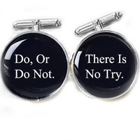 Men Star War Cufflinks Do, Or Do Not. There Is No Try Personalized gift guy cuff links