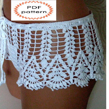 Pattern crochet white beach shorts,  shorts for summer, pattern beach shorts, womens summer shorts pattern - pattern PDF