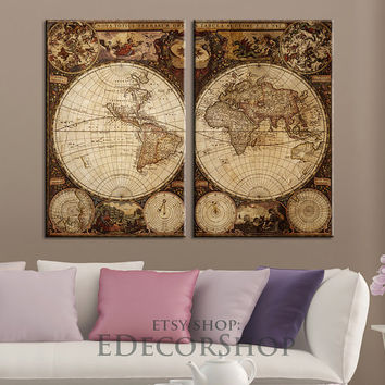 Vintage World Map Canvas Print | Atlas Canvas Art Print | Old World Map Canvas