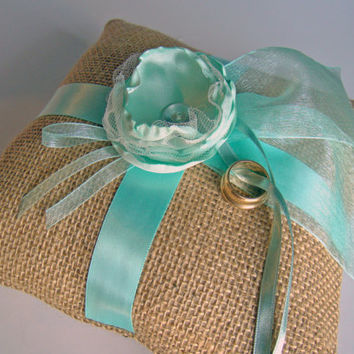 Ring Bearer Pillow, Burlap, Aqua, Beach Wedding, Destination Wedding, Handmade, Ring Pillow, Ring Bearer, Garden, Cottage, Spring, Summer