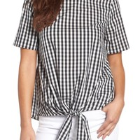 Gibson Cotton Tie Front Top | Nordstrom