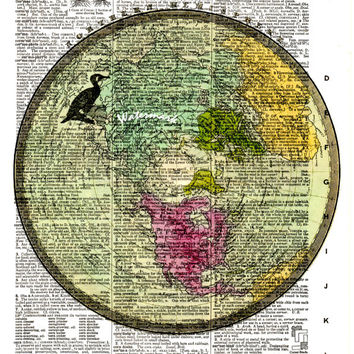 Northern Hemisphere - 1840 - Historical Antique Map - Vintage Dictionary Art Print - Page Size 8.5x11