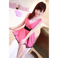 Pink V-Neck Sleeveless Chiffon Mini Dress