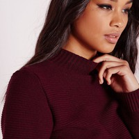 Missguided - Long Sleeve Turtle Neck Crop Sweater Burgundy