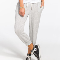 H.I.P. French Terry Womens Cropped Jogger Pants Heather Grey  In Sizes