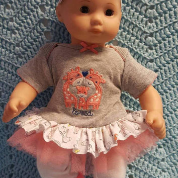"Baby Doll Clothes ""Love"" 15 inch doll outfit Will fit Bitty Baby® Bitty Twins®  dress, leggings, socks, headband eiffel tower L9"
