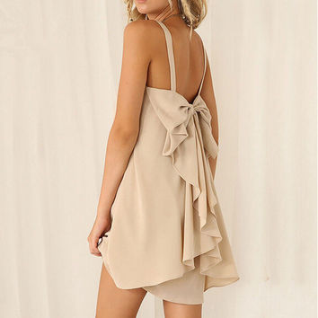 Summer behind lace strap Mini Dress = 6095246019