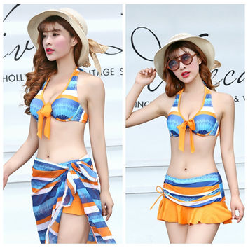 Womens Lovely Bikini Skirt With Sarong Coverup Swimsuit