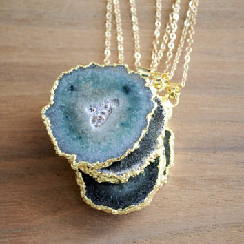 "Stalactite Agate Necklace - Gold Plated with 18"" 14k Delicate Gold Filled Chain"