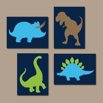 DINOSAUR Wall Art, Canvas or Prints, Boy DINOSAUR Theme, Baby Boy Nursery Decor, Big Boy Bedroom Pictures, DINO Silhouettes Set of 4 Decor