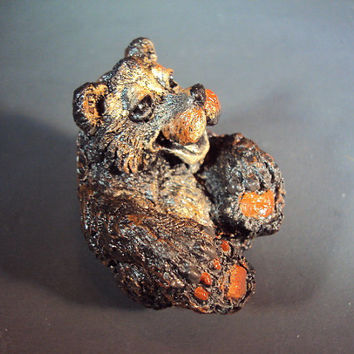 Cement Bear Stone, Tiny Bear, Hand Cast, Hand Painted, Great For Collectors