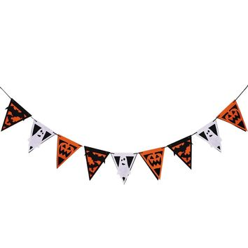 1pcs Triangle Pull Flag Pumpkin Double Layer Ghost Hanging 3M Length Non-woven Pull Flags Triangle Banners for Halloween Partys
