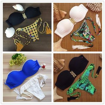 Sexy Push Up Bikini Women Set Froal Bandage Swimwear Padded Bra Brazilian Swimsuit Beach Suite Biquini 2015 New SJ15285-mix1