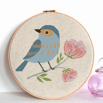 Bird cross stitch pattern pdf, Modern  pattern, Animals cross stitch with blue flowers Counted cross stitch chart , nursery room decor