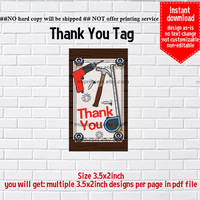 Instant Download, #1018 tool, boy dig Party, construction party, Thank you TAG, 3.5x2inch printable, non-editable NOT CUSTOMIZABLE