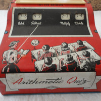 1950's Tin Arithmetic QuizToy Game Made By Wolverine