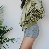 Satin Bomber Jacket (Olive)