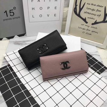 ONETOW Chanel' Fashion Simple Women Purse Genuine Leather Long Section Button Flip Wallet Clutch