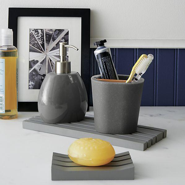 Grey soap dispenser from crate and barrel home for Grey bath accessories