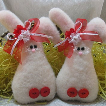 EASTER BUNNY Set of 2, Bunny Ornaments, Easter Decoration, Stuffed Bunny, Bunny Decoration, Plush Bunny, Red