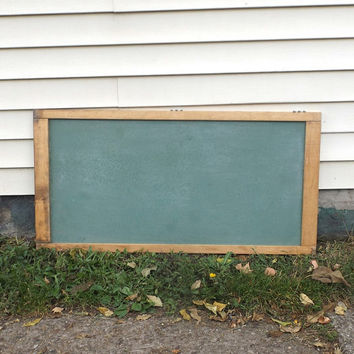 vintage 1960's large green chalkboard wall hanging wood frame mid century modern retro school decorative home decor antique old wedding