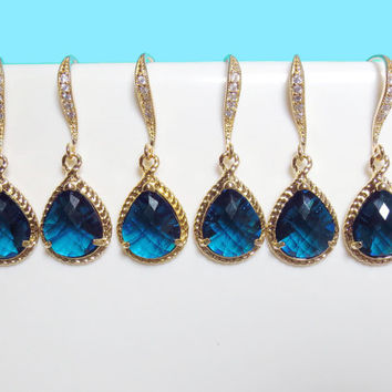 Set of 1-4 Pairs, Navy, Blue, Sapphire, Earrings, Gold, Emerald, Bridesmaid, Wedding, Bridal, Earrings, Bridal, Jewelry, Set, Gold, Navy