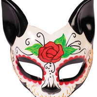 Day OF The Dead Cat Half Mask w/Arm Eyeglass Arm