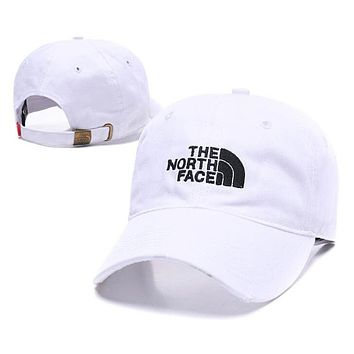 The North Face Popular Women Men Embroidery Sports Sun Hat Baseball Cap Hat White