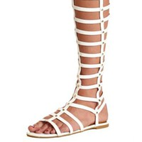 Studded Knee-High Gladiator Sandals by Charlotte Russe - White