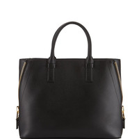 TOM FORD Jennifer Large Trap Calfskin Tote Bag, Black