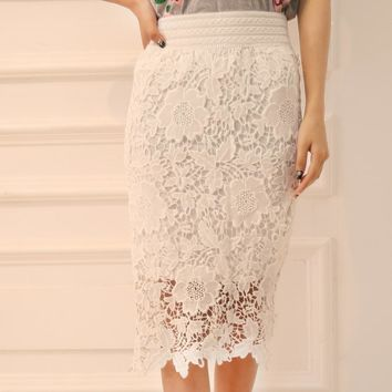 Hot sale fashion elastic show thin lace flower edge hollow high waist dress