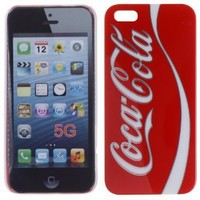 High Quality Hard Case Rear and Side Protection with Coke Logo for iPhone 5, Red