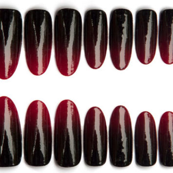 Red to Black Gradient Nails, Vampy dark red to black ombre fade nail art on coffin, stiletto, oval or square nails, 20 Press on nails