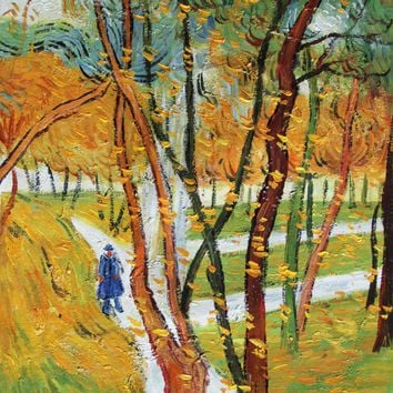 VG98-The Walk - Falling Leaves-Vincent van Gogh Repro Oil Painting on Canvas 20x24""